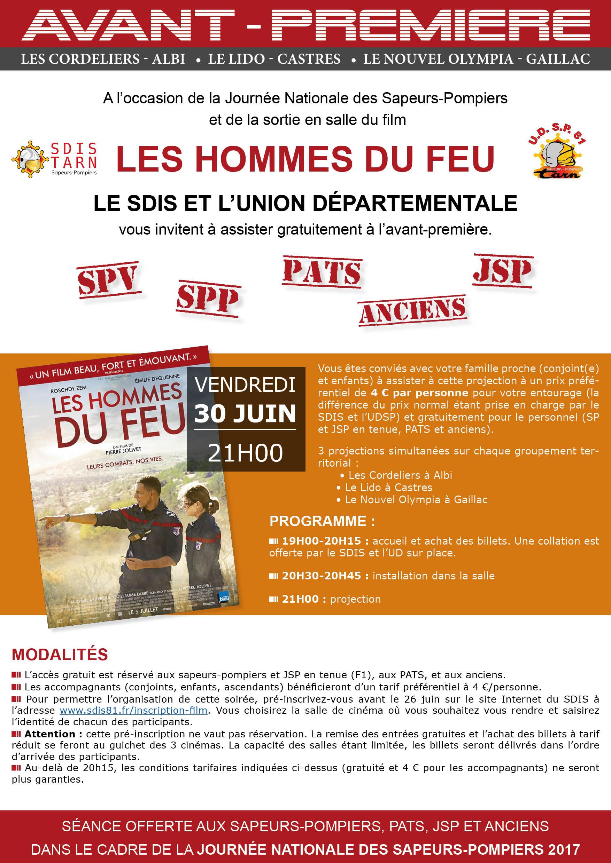 """Le personnel du SDIS 81 invité à l'avant-première """"Les Hommes du feu"""""""