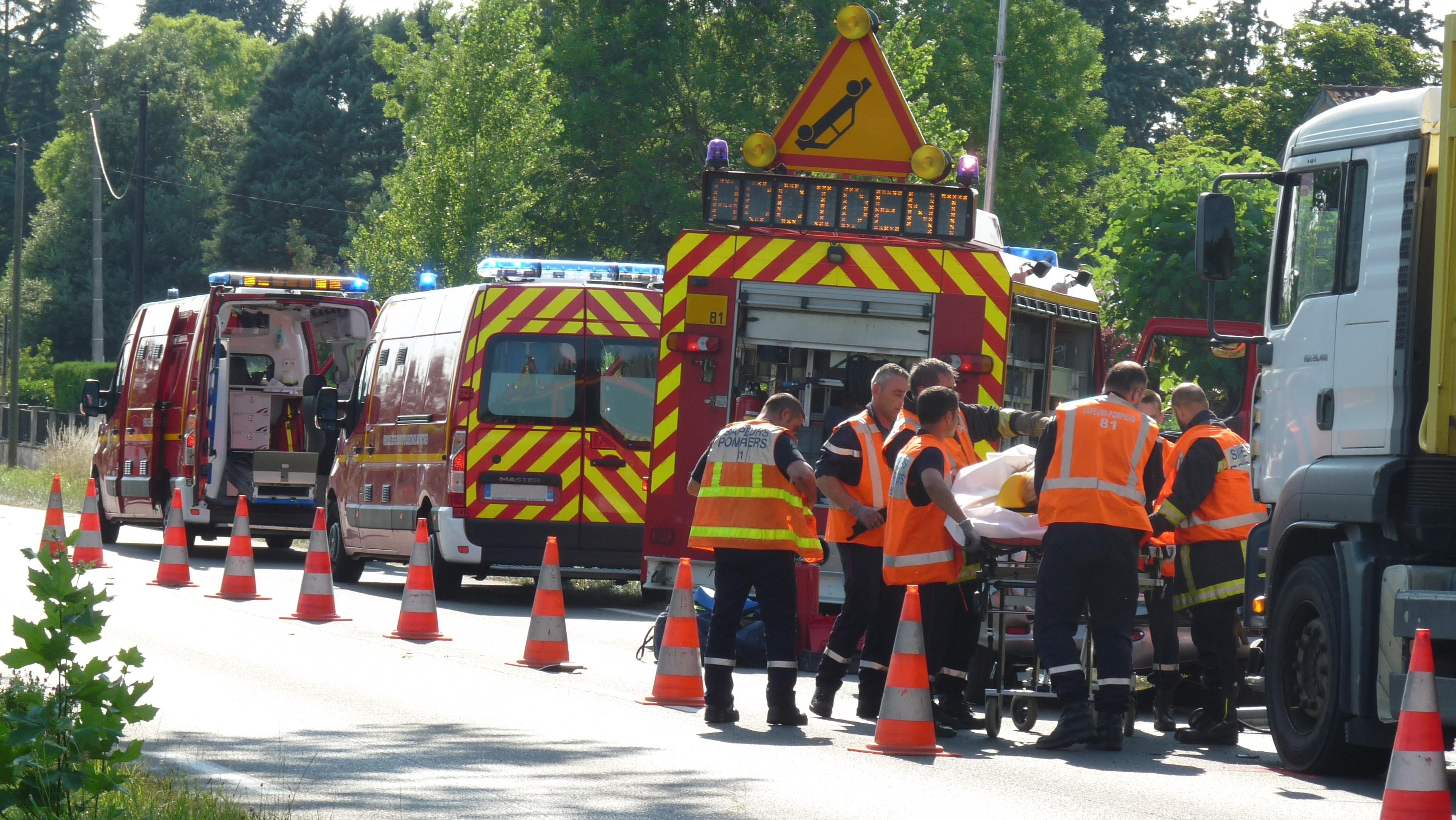 Accident entre un poids lourd et une voiture sur la commune de Graulhet