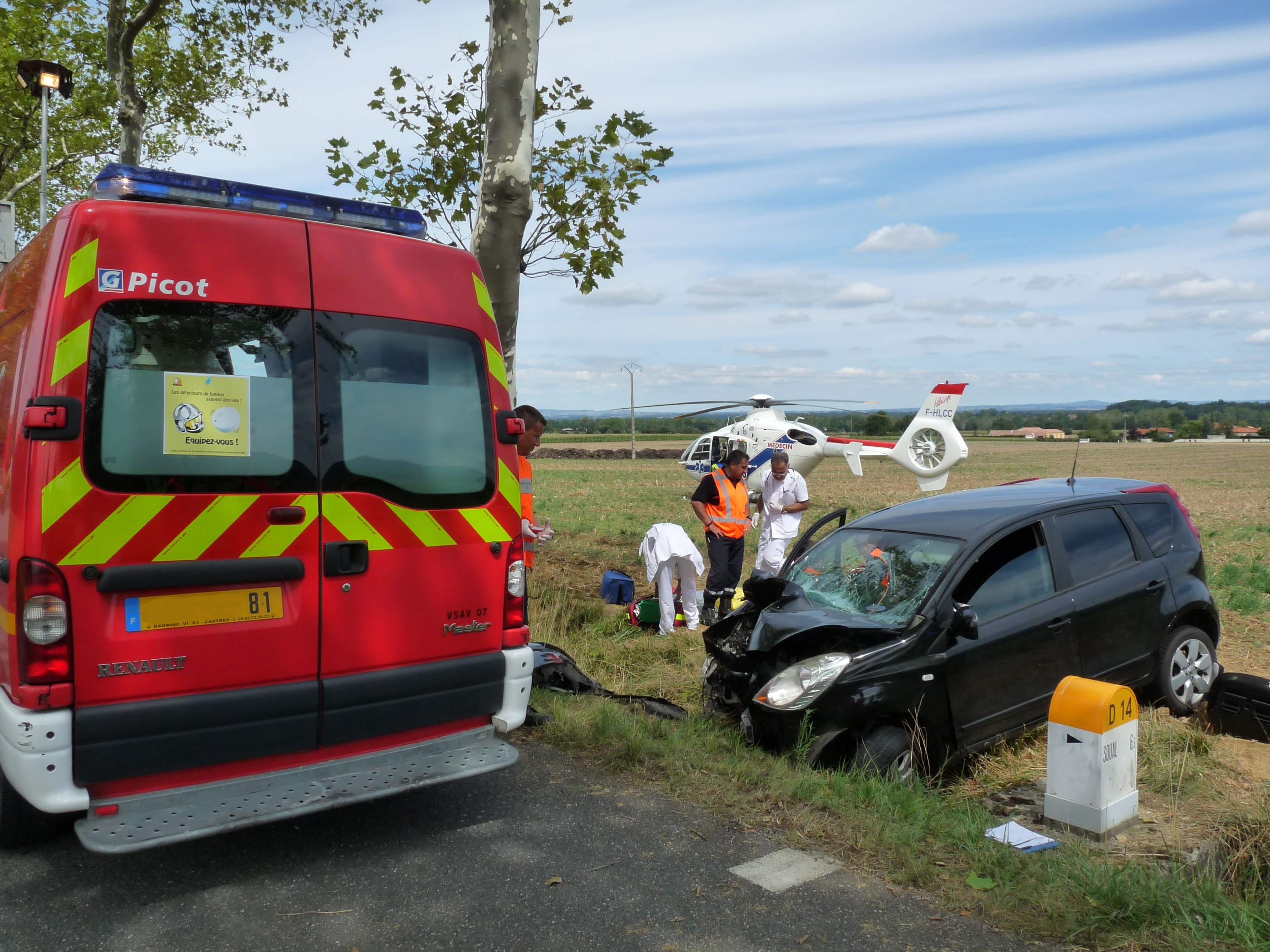 Accident de la circulation sur la commune de Verdalle