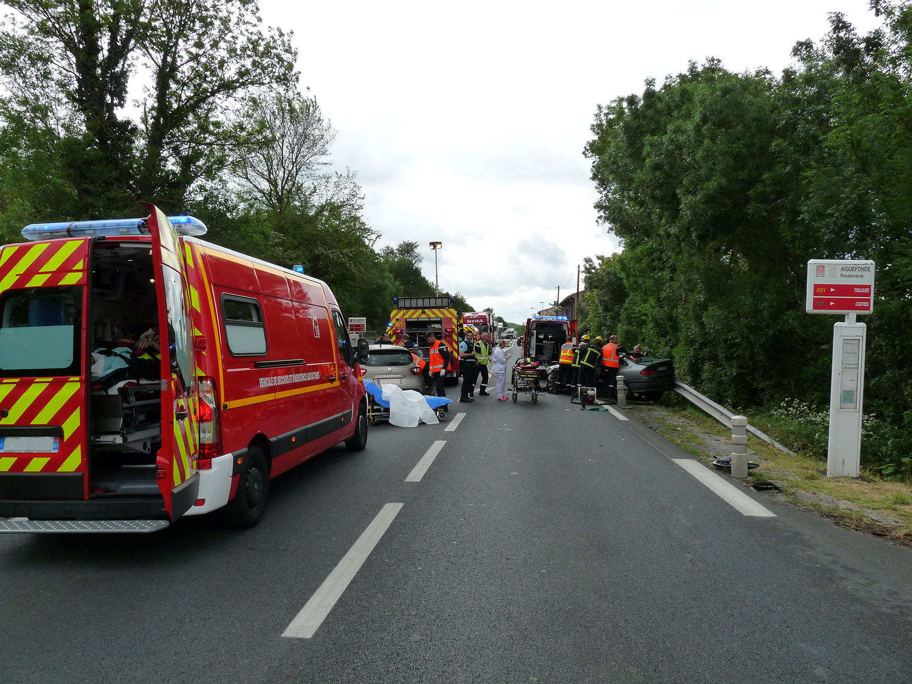 Accident de la circulation sur la commune de Aiguefonde