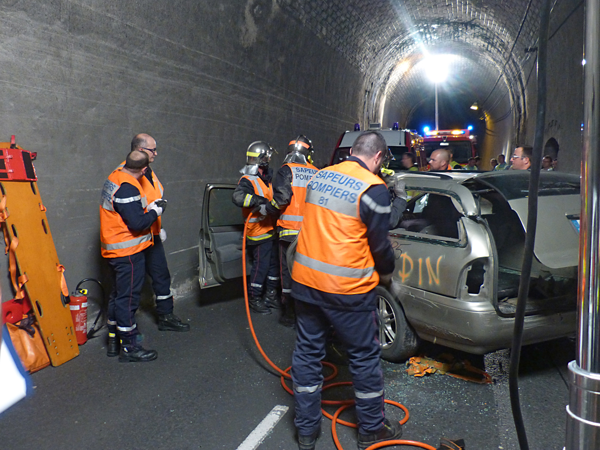Exercice au tunnel de Puech Mergou sur la commune de Marsal