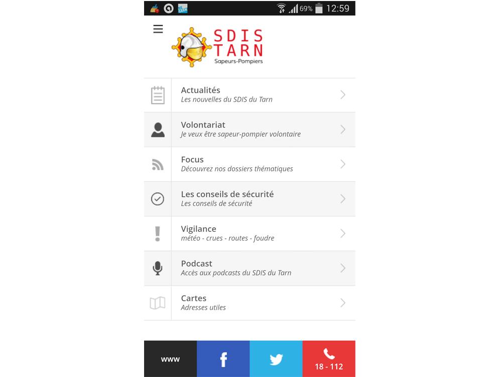 L'application pour smartphone du SDIS du Tarn est en ligne !