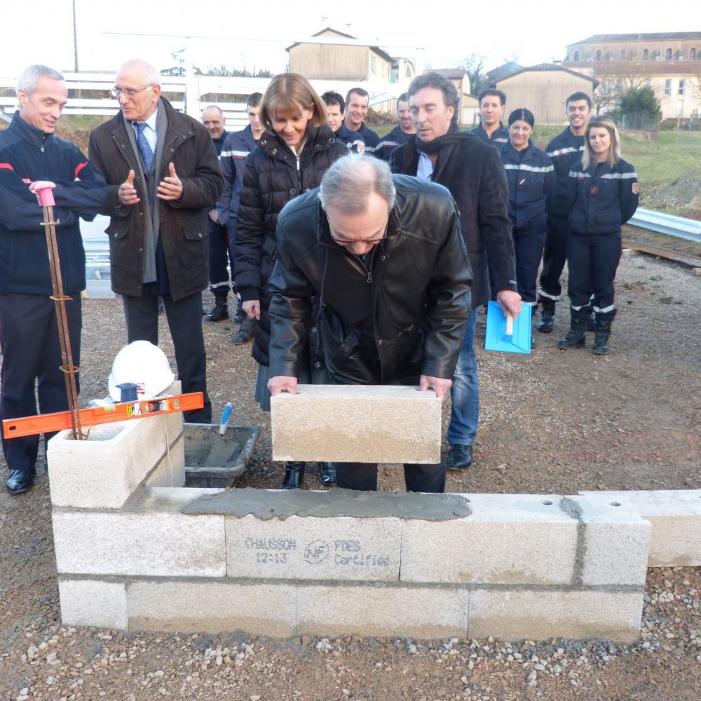 Pose de la première pierre du nouveau centre d'incendie et de secours de Vaour