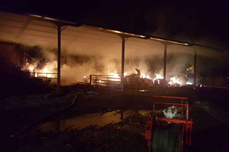 Feu de hangar agricole sur la commune de Penne