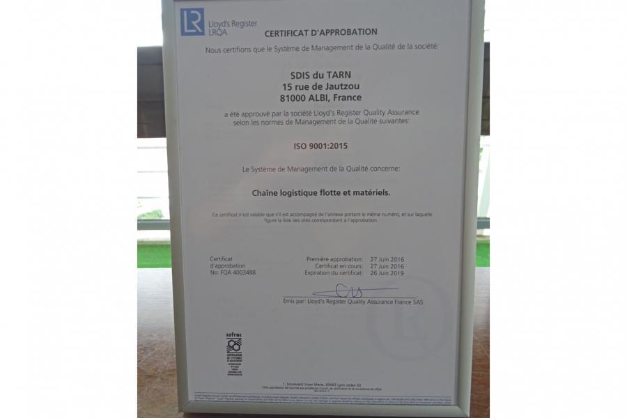 Certification ISO 9001 pour la chaîne logistique du SDIS81