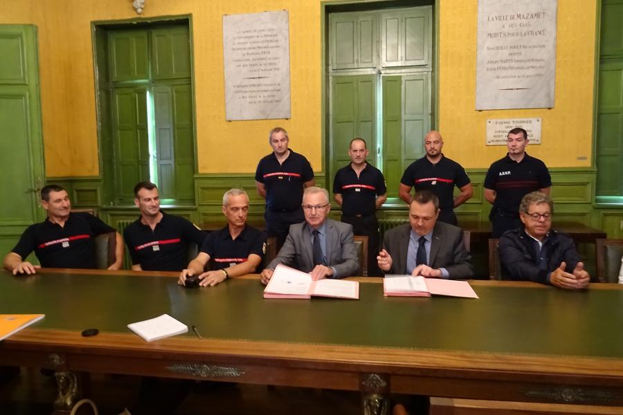 Signature de convention au centre de secours de Mazamet