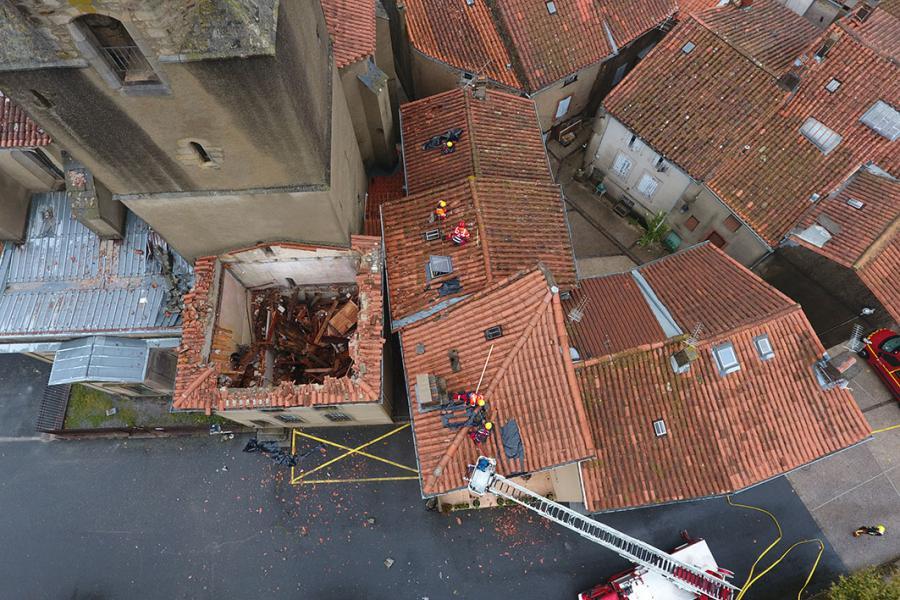 Effondrement du clocher de l'église de Saint-Amans-Soult