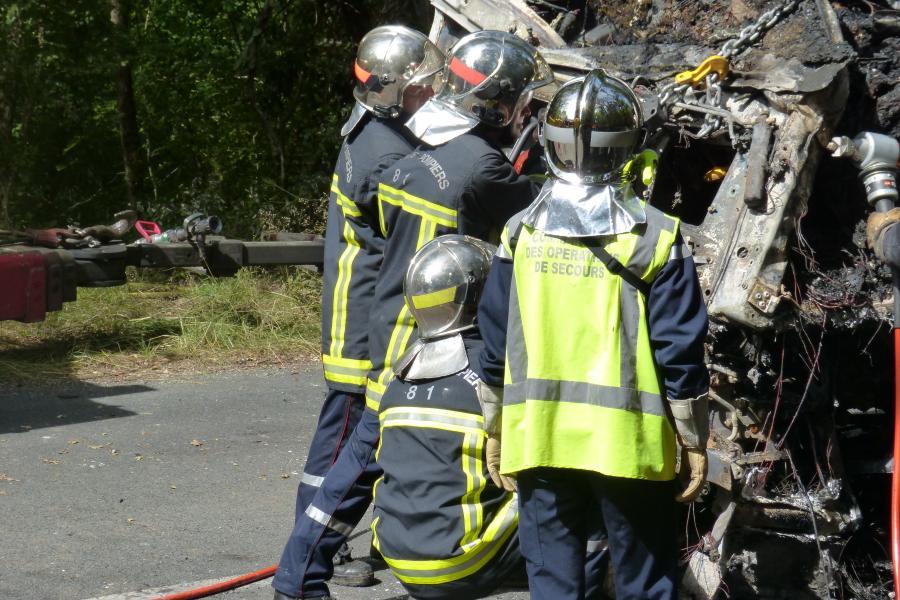 Accident de poids lourd sur la commune de Saint-Marcel-Campes