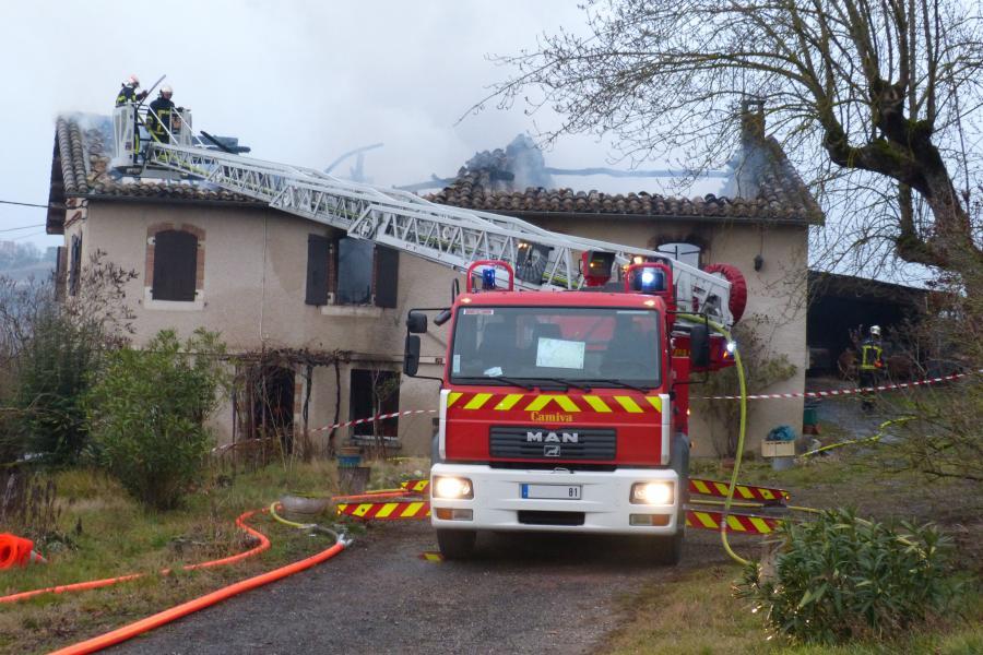 Feu d'habitation sur la commune de Castelnau-de-Lévis