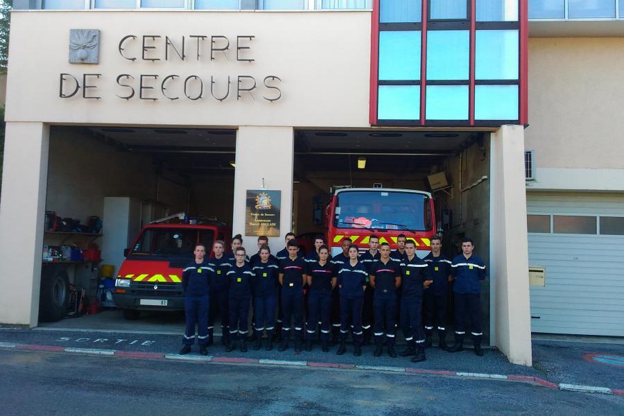 Les jeunes sapeurs-pompiers présents sur le dispositif de secours du raid UNSS